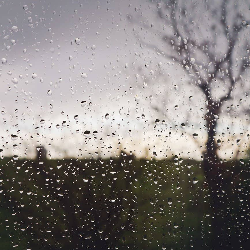 raindrops on a window with a bare tree and a stormy sky in the background